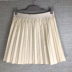Hinge Pleated Faux Leather Mini Skirt Size M